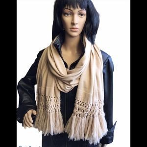 Cozy Long Fringed Wrap - Cream
